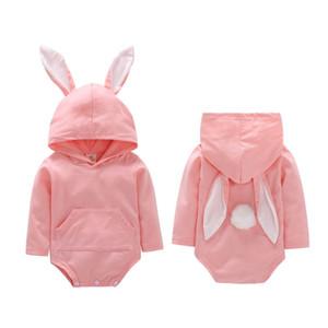 Ear Coelho bonito Camisola encapuçado para recém-nascido do bebê Meninas Meninos 3D coelho Pompom ouvido manga comprida Macacão camisola Outfits
