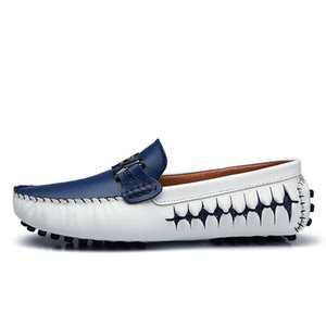 men loafers genuine leather casual shoes slip on mens boat shoes italian designer driving shoes moccasins blue black flats