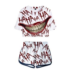 Frauen Outfits 2019 2 Stück Frauen HAHA Joker Outfit 3D Print T-Shirt Anzug Shorts Sommer 2 Stück Set Top Ensemble Femme