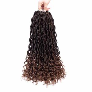 Karida Faux Locs Crochet Hair 18 inch 6 packs lot Gypsy Crochet Locs 3 Tone Ombre Curly Wave Goddess Locs Crochet Twist Braiding Hair Extens