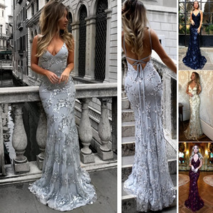 2019 nouvelles femmes Sexy col en V Slim Fit Condole Ceinture Sequins sans manches dos nu Party Evening Long Dress