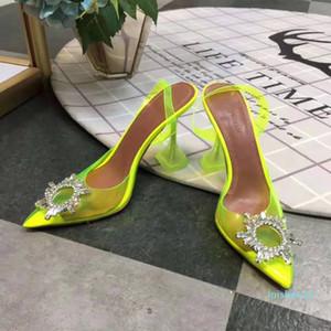 Perfekte Offizielle Qualität Amina Begum Kristall-verschönerte Pvc Sling Pumpen Muaddi Begumglass Transparent Mode Schuhe Sandalen