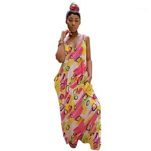 Skirt Women Dress Sleeveless Floral Loose V Neck Ladies Dress Casual Elegant Graceful Long Dress Summer Suspender