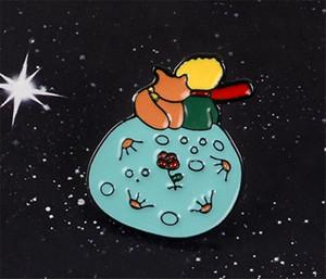 لا تكون بالغ ممل! Le Petit Prince Planet The Little Prince Fox Rose Classical Fairy Tale Hard Enamel Brooch Pin T364