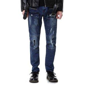 2019 New Fashion Mens Designer Jeans Mens Best Quality Distressed Zipper Hip Hop Jeans Mens Ripped Denim Pants Blue Size 29-40