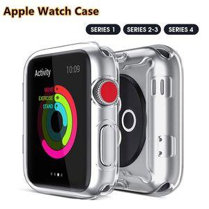 Caso da tampa de alta qualidade TUP inteiro para a Apple Assista 1/2/3/4 alta transparência Anti-Fingerprinters 38 42 40 44 milímetros
