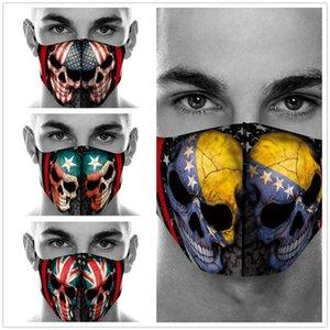 Máscaras 20pcs Bandera traje del fantasma máscara de la cabeza de impresión de algodón Juego de polvo del cráneo de Halloween Cosplay del partido de la mascarada de la cara reutilizable cuidado de la cara