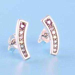 Womens Authentic 925 Color de plata esterlina CZ Pendiente de diamante Caja de regalo original para Pandora Rainbow Stud Earring envío gratis