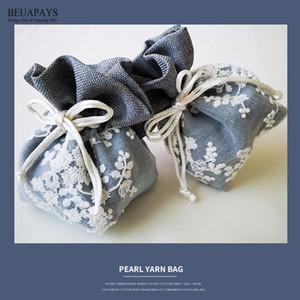 20pcs blanc prune fil fleur sac cadeau boîte de bonbons bricolage bébé douche décoration de mariage festival cadeau de Noël Accessoires