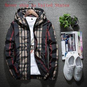 New Plaid Jacket Men Casual Spring Autumn Slim Fit Zipper Mens Jackets Long Sleeve Windbreaker Coat Male Outwear