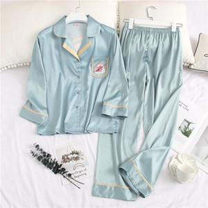 Imprimé mignon Cardigan Lady nuit Mode personnalité charme femmes Pyjama Set 3 couleurs Ice Silk deux pièces Accueil Vêtements
