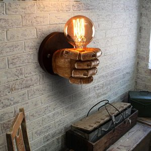Antique Left Hand Right Hand Fist Resin Wall Lamp LOFT Retro Creative Restaurant Bar Corridor Decoration Lamp E27 220V