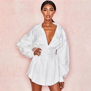 Panelli Bayan Günlük Elbiseler Moda Sonbahar Tek Göğüslü Bayan Gömlek Elbiseler Tasarımcı Seksi Ince Kadın Giyim