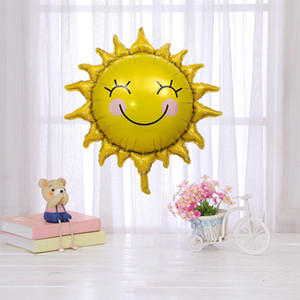 Children's birthday decoration sunflower golden sun smile sunflower aluminum film balloon baby first birthday cartoon ball