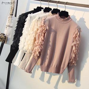 Coreano Primavera Outono Flores malha mangas soltas camisola com folhos Collar malha Mulheres pulôver Femme Tops Pull