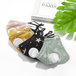 máscara de la válvula a prueba de polvo respirable de los niños con 2pcs PM2.5 filtra niños impresos algodón lavado de protección ajustable estrella gancho enmascaran FFA3977