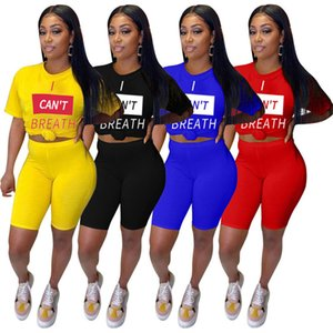 Hot Sale Letters Druck-Frauen-Sommer-Shorts Set I CAN NOT Sportswear T-Shirt T-Shirts Shorts Anzug 2 Stück Outfits Sweat Suit D61503 BREATHE