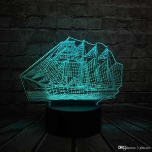 Antiga Retro 3D sailing Boat LED Lamp estilo chinês Multicolor Illusion RBG Night Light Table USB Desk Decor
