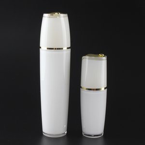 Empty cosmetic serum bottle in 50ml, round cosmetic acrylic lotion bottle with gold pump and lid
