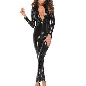 المرأة مثير الرمز فو جلدية BODYSUIT كم أسود أحمر طويل لامعة وبذلة ليناسب المرأة الجسم جلد صنم الملبس بالاضافة الى حجم 4XL