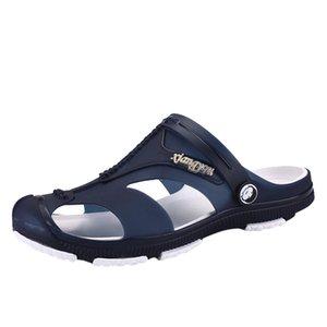 DAILOU Мужчины Сандалии Тапочки Обувь Летняя Croc моды пляж сандалии случайные плоские поскользнуться на Шлепанцы Мужская обувь Hollow J26