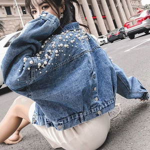 Yu Kube Plus Size Perle Jeansjacke Frauen lösen Mantel Weibliche beiläufige Denim-Jeans-Jacke Outwear Short Stil Feminina