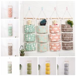 7colors colgar de la pared del organizador del bolso bolsa de almacenaje del algodón de lino titular de la puerta colgando Bolsas Diversos 3 bolsillos bolsas de clasificación GGA833