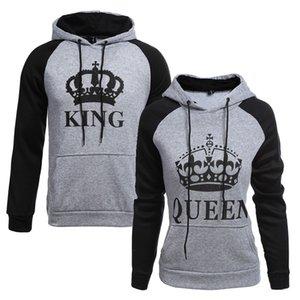 KING Queen Crown Print Unisex Men Women Autumn Hoodies Slim Sweatshirt for Couple Lovers Winter Patchwork Hooded Pullovers Y200706