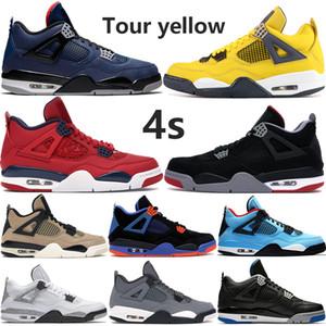 Hombres 4 4s jumpman zapatillas de baloncesto limo rojo salpicadura de Fiba gira de invierno amarilla criados gato negro Cavs truenos hombre estilista entrenadores