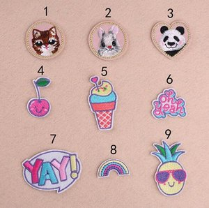 8P-107 3d Iron On Patches Panda e coelho CAT costurar bordado em patch para roupas YAY crianças cartoon crachá lata cliente