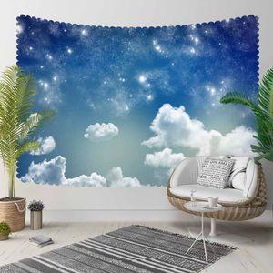 Else Blue Night Sky White Shine Stars Clouds 3D Pattern Print Decorative Hippi Bohemian Wall Hanging Landscape Tapestry Wall Art