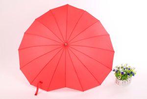 Мода Red Heart Shaped Red Rain Зонт для женщин Украшения Зонтик Фото Реквизит Валентин Свадьба девушка подарки Sun Зонтики CX200628