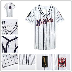 # 9 Roy Hobbs New York Knights The Natural film Redford Baseball Maglia Grigio Bianco Pinstripes pullover di baseball
