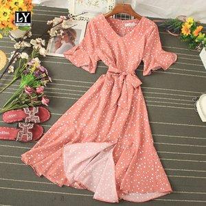 LY VAREY LIN 새로운 여름 물방울 무늬 V 넥 플레어 슬리브 드레스 캐주얼 슬림 높은 허리 중순 송아지 여성 드레스