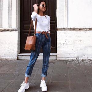 XHKLD Harajuku Çizgili Pantolon Vintage Pantolon Denim tulumlar Mavi Jeans Casual Denim tulumları Bayanlar Jeans Yıkanmış