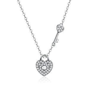 SCN315 Fashion costume sparkle cz stone zircon key heart pendant 925 silver chain women charms necklace jewelry