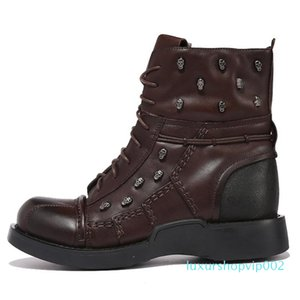 2019 Skll Decoration Male Tatical Boots Big Size Men's Winter Boots Genuine Leather Punk Botas Fashion 11#20 03D50