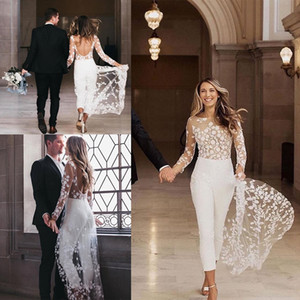 Designer 2020 Jumpsuit Beach Wedding Dresses Jewel Neck Long Sleeve Backless Ankle Length Bridal Outfit Lace Summer Wedding Gowns