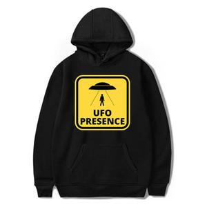Harajuku UFO allentato Ripristino Stella Airship Stampa Hoodies Felpa donne / uomini Streetwear Nero Pullover O-collo Hoddie Felpa