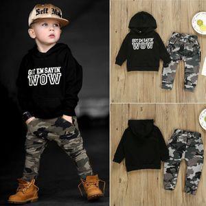 2ST Kleinkind-Baby-Hip Hop Tops T-Shirt Camo Hosen Outfits Set Kleidung
