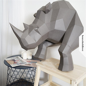 Nordic wind 3D rhinoceros papel tridimensional arte decoración de la pared decoración de la pared viento industrial decoración del hogar creativo hecho a mano diy