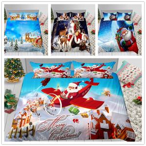 Ensemble complet de literie double Queen Size cadeau de Noël 2 / 3pcs avec housse de taie d'oreiller housse de couette 3D Imprimer Santa Claus of Duvet Cover Set