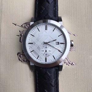 Livraison Gratuite Hommes Montres 42MM Style Britannique Quartz Chronographe Mens Montre Montres En Acier Inoxydable Cadran Blanc Bracelet En Cuir Noir