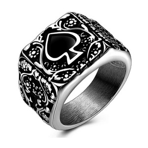 2020 New Creative Spades K Stainless Steel Finger Couple Ring Vintage Ring Jewelry Wholesale US Size