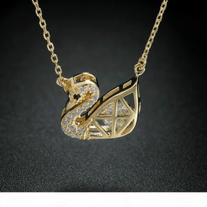Classic Plated Golden Color Swan Shape Micro Inlay Zircon Pendant Necklace 925 Sterling Silver Necklaces Pendants for Women