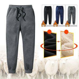 Men's Winter Super Warm Pants Outside Fleece Joggers Thicken Sweatpants Casual Pants Outdoor Trousers Streetwear Men M-6XL T200706