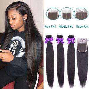 Brasiliana capelli lisci Bundles con chiusura a 3 pc / set dei capelli umani Bundle con chiusura Hair Extension
