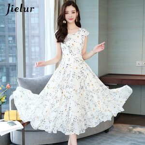 Jielur Chiffon Dress Women Summer Short Sleeve Floral Print Boho Dress Slim Vacation Asymmetry White Dresses Elegant Vestidos T200604