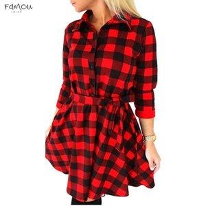 Fashion Women Long Sleeve Short Dress 3 4 Sleeve Shirt Sleeveless Dress Plaid Checked Dress Drop Shipping Designer Clothes