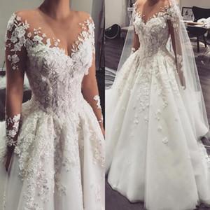 Arabic A Line Свадебные платья 2020 Sheer Jewel шеи с длинными рукавами Кружева Аппликации 3D Цветы из бисера Плюс Размер суд поезд Тюль Свадебные платья